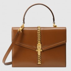 Gucci Sylvie 1969 Calfskin Small Top Handle Brown Bag