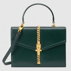 Gucci Sylvie 1969 Calfskin Small Top Handle Green Bag