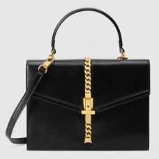 Gucci Sylvie 1969 Calfskin Small Top Handle Black Bag