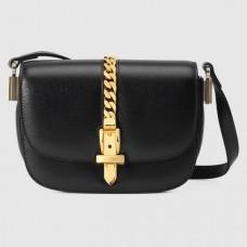 Gucci Sylvie 1969 Mini Shoulder Bag In Black Calfskin