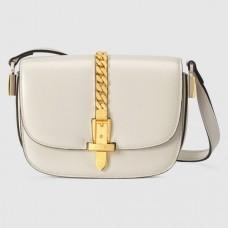 Gucci Sylvie 1969 Mini Shoulder Bag In White Calfskin