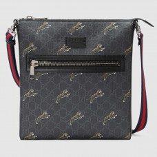 Gucci Black GG Supreme Tigers Messenger Bag
