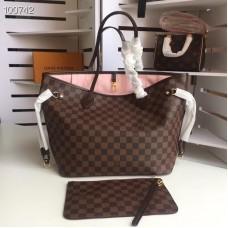 Louis Vuittom damier ebene Canvas Neverfull MM Bag Rose Ballerine N41603