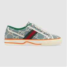 Gucci Tennis 1977 sneaker Light blue and ivory GG stretch cotton