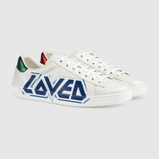 Gucci Men's Ace Sneaker With Blue Loved Print