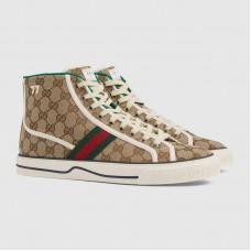 Gucci Men's Gucci Tennis 1977 Beige/ebony original GG canvas high top sneaker