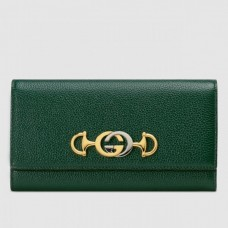 Gucci 573612 Zumi grainy leather continental wallet dark green grainy leather