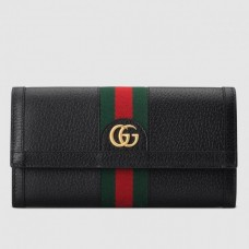 Gucci Black Leather Ophidia Continental Wallet