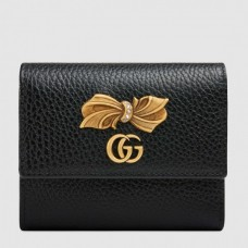 Gucci Black Leather Wallet With Bow