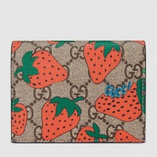 Gucci GG Gucci Strawberry Print Card Case Wallet