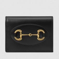 Gucci Horsebit 1955 Card Case Wallet In Black Calfskin