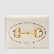 Gucci Horsebit 1955 Card Case Wallet In White Calfskin