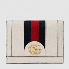 Gucci Web Ophidia Card Case Wallet 523155 Leather White