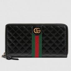 Gucci Zip Around Wallet In Black Quilted Leather