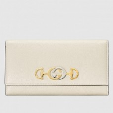 Gucci Zumi Grainy Leather Continental Wallet 573612 White 2019