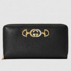 Gucci Zumi Grainy Leather Zip Around Wallet 570661 Black