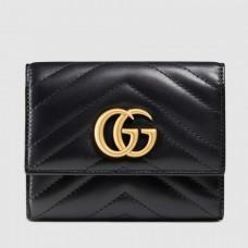 Gucci Black GG Marmont Matelasse Wallet